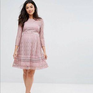 ASOS Maternity Premium Lace Skater Dress Lilac